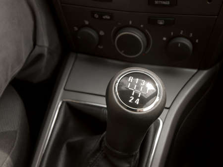 gearstick: Manual gearstick in the cockpit of a car Stock Photo