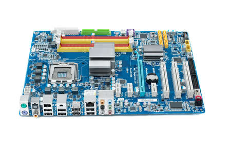 backplate: Computer mainboard isolated on white background