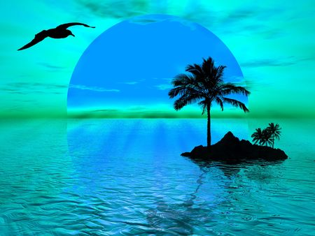 Blue sunset landscape on the ocean with island photo