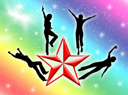 Happy woman silhouettes on a colorful star  Stock Photo