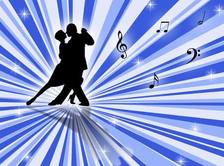 ballroom dance: Couple dancing a tango on a star-burst background
