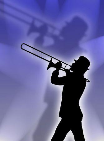 trombon: Trompeta jugador silueta en el azul de las luces