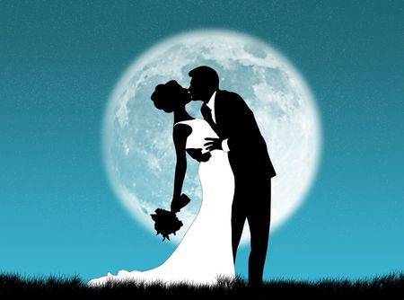 Bride and groom kissing in the moon