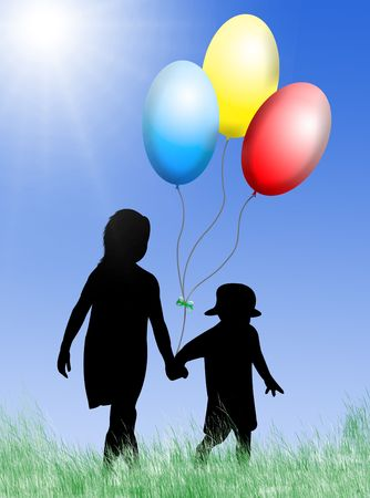 Children with toy balloons in a sunny day Stock Photo - 4315211