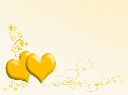 infatuation: Two hearts with ornaments for this San Valentines card Stock Photo