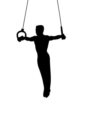 Gymnast on rings as symbol of sport and activity Stock Photo - 4367749