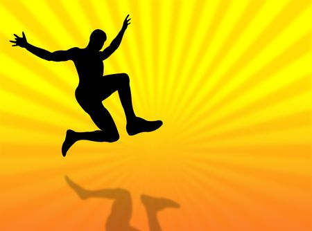 Sport man silhouette jumping on a colorful background Stock Photo - 4367750