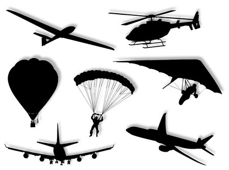 Different air transport silhouette as symbol of travel Stock Photo - 4367756