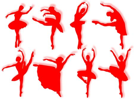 Classical dancers silhouette in different poses and attitudes Stock Photo
