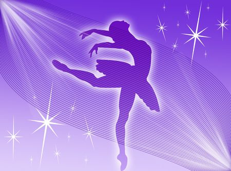 Classical dancer dancing in the stars and in the light