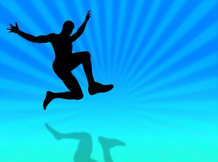 Sport man silhouette jumping on a colorful background Stock Photo - 4438066