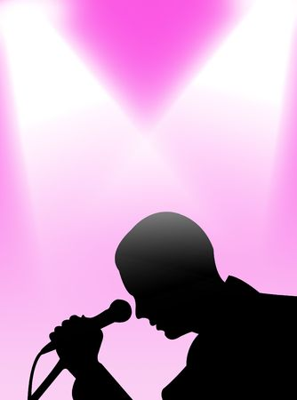 analogical: Man singing in the light on a colorful background