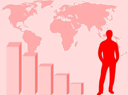 financial position: World map, graphic and businessman to represent business concept Stock Photo
