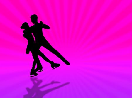 Couple skating on a colorful background with sunburst