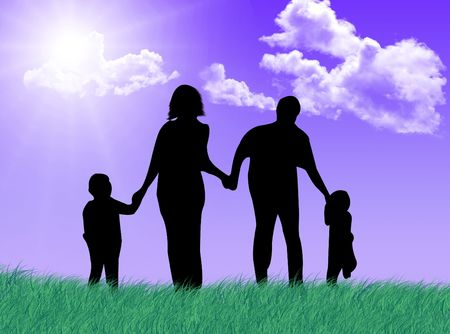 complicity: Happy family jumping and running in a sunny and spring day Stock Photo