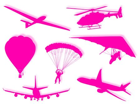 kilometres: Different air transport silhouette as symbol of travel  Stock Photo