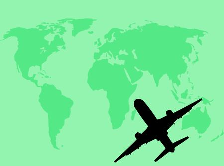 geological: Airplane silhouette on the world as symbol of travel
