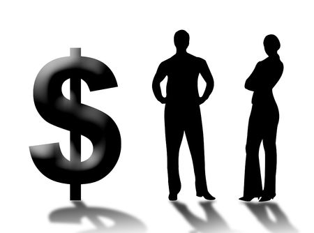 financial position: Businessman and businewoman with dollar as symbol of money and succes Stock Photo