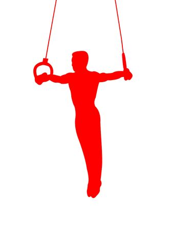 Gymnast on rings as symbol of sport and activity Stock Photo - 4589010