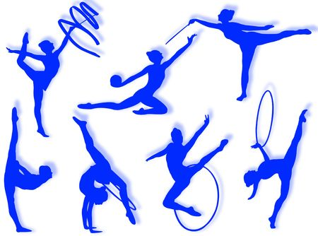 Young women in rhythmic gymnastics silhouette and exercises Stock Photo