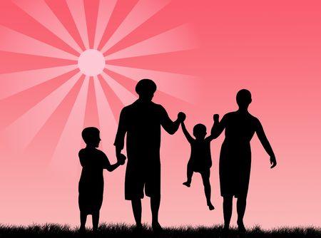 procreation: Happy family in springtime under the sun Stock Photo