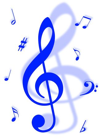 vibrations: Music symbols, signs and notes to represent musical world Stock Photo