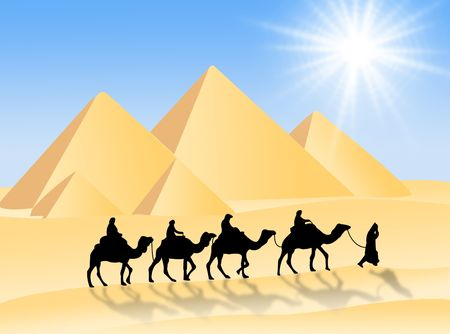 Travel in the desert with camels under the sun