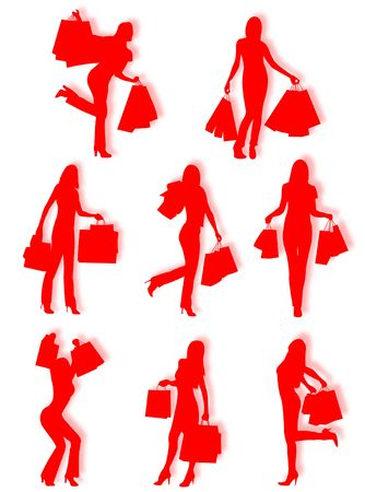 Shopping women silhouettes in different poses and attitudes Stock Photo - 4749269