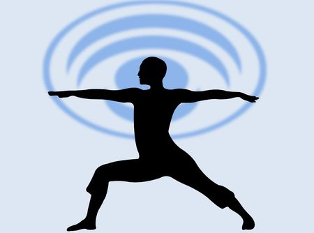 Yoga pose silhouette as symbol of meditation and relax