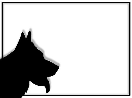 Dog portrait in silhouette for this dog frame photo