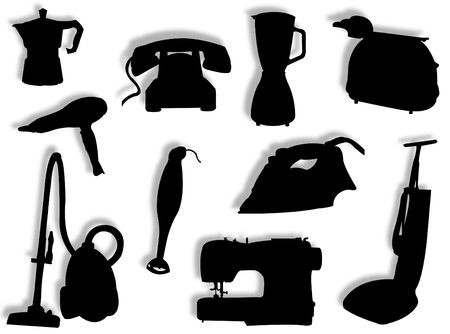 phon: Different kind of electric appliances to represent housework Stock Photo