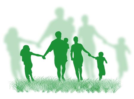 complicity: Happy family silhouette walking and running on the grass Stock Photo