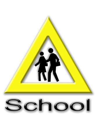 Signal to represent pedestrian crossing to school photo