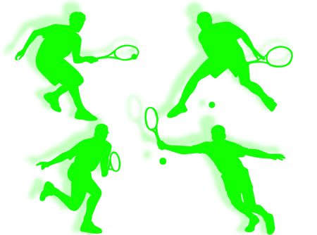 coordination: Tennis player silhouette in different poses and attitudes Stock Photo