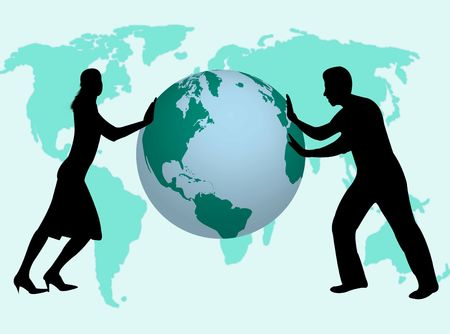 financial position: Business man and woman pushing the world