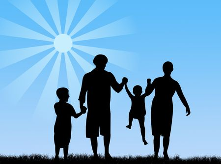 complicity: Happy family in springtime under the sun Stock Photo