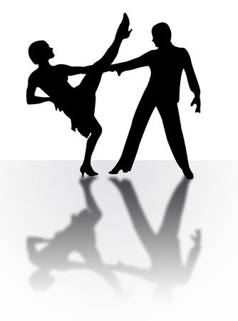 Couple dancing on the stage with shadow photo