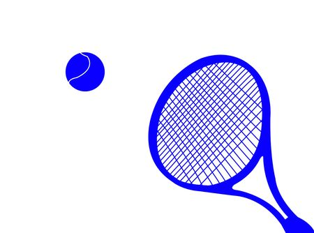 Tennis racket silhouette with ball as symbol of tennis photo
