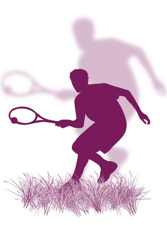 coordination: Tennis player silhouette playing tennis on the grass