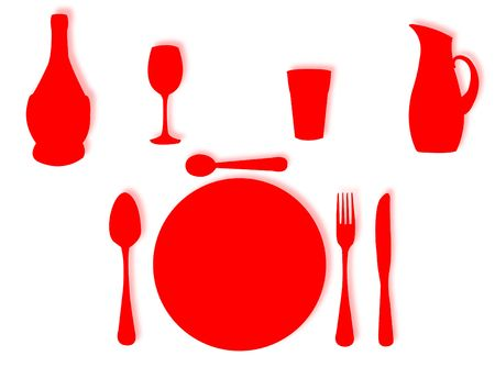 represent: Utensils in silhouette to represent lunch and dinner set Stock Photo