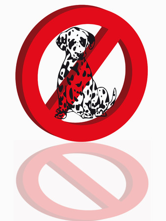 Dog in a red signal as symbol of prohibition Stock Vector - 5031482