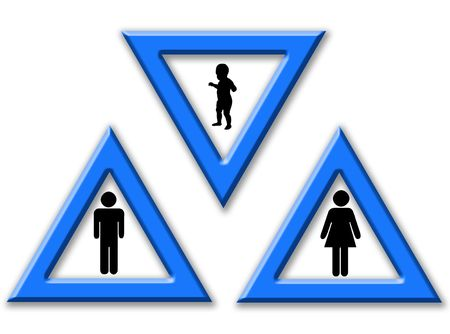 represent: Signas to represent man, women and son as a family Stock Photo