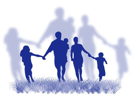 Happy family silhouette walking and running on the grass Stock Photo