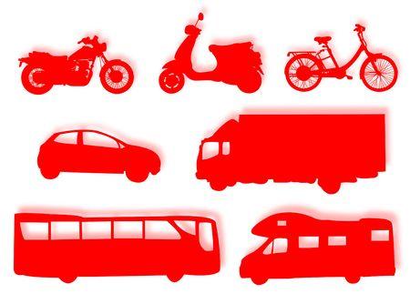 Diferentes tipos de transporte terrestre para representar a los viajes Foto de archivo - 5093446