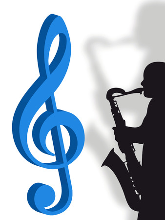 vibrations: Violin clef and saxophonist as symbol of music