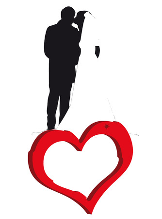 infatuation: Brides kissing on the heart as symbol of wedding Illustration