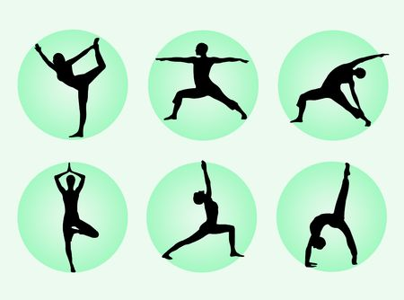 flexible woman: Different yoga poses in silhouette to represent meditation