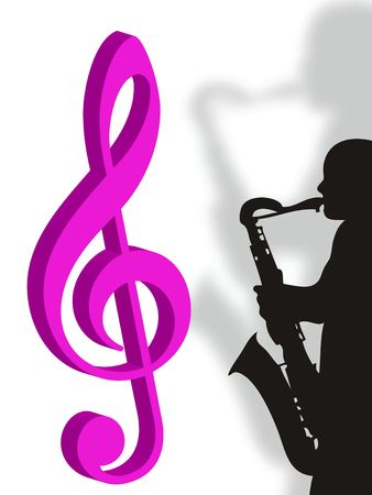 entertainer: Violin clef and saxophonist as symbol of music