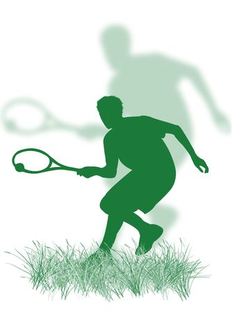 Tennis player silhouette playing tennis on the grass