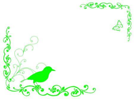 represent: Bird and plant frame to represent spring season Stock Photo